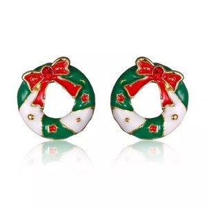 🎄GOLD PLATED CHRISTMAS WREATH W/BOWS EARRINGS🎄